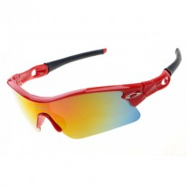 radar pitch polished red sunglasses